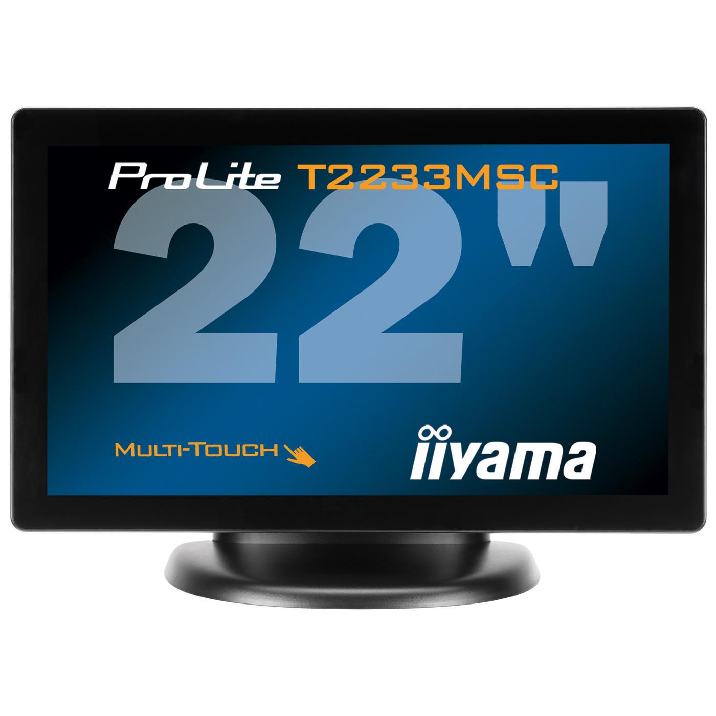 "Ecran PC iiyama 21.5"" LCD Tactile - ProLite T2233MSC-1 1920 x 1080 pixels - Tactile Multi-Touch - 5 ms - Format large 16/9 - Noir"