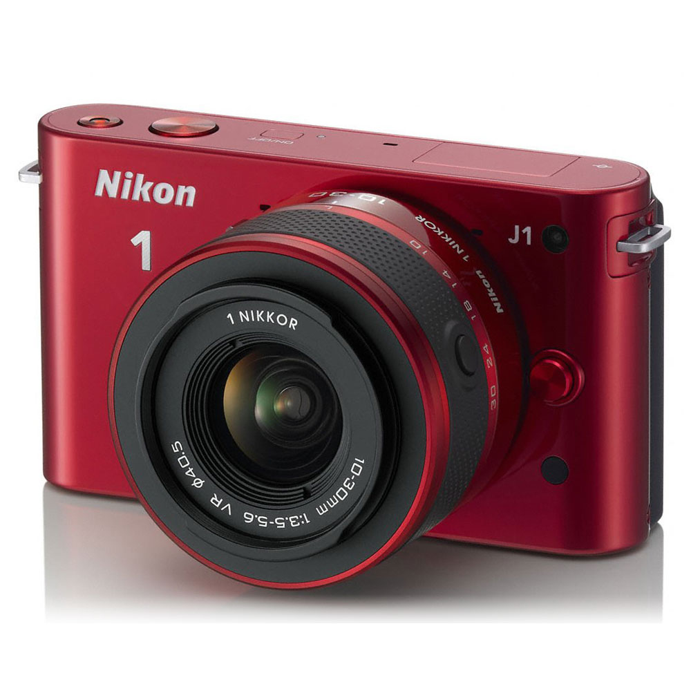 nikon 1 j1 rouge objectif 1 nikkor vr 10 30 mm f 3 5 5 6. Black Bedroom Furniture Sets. Home Design Ideas