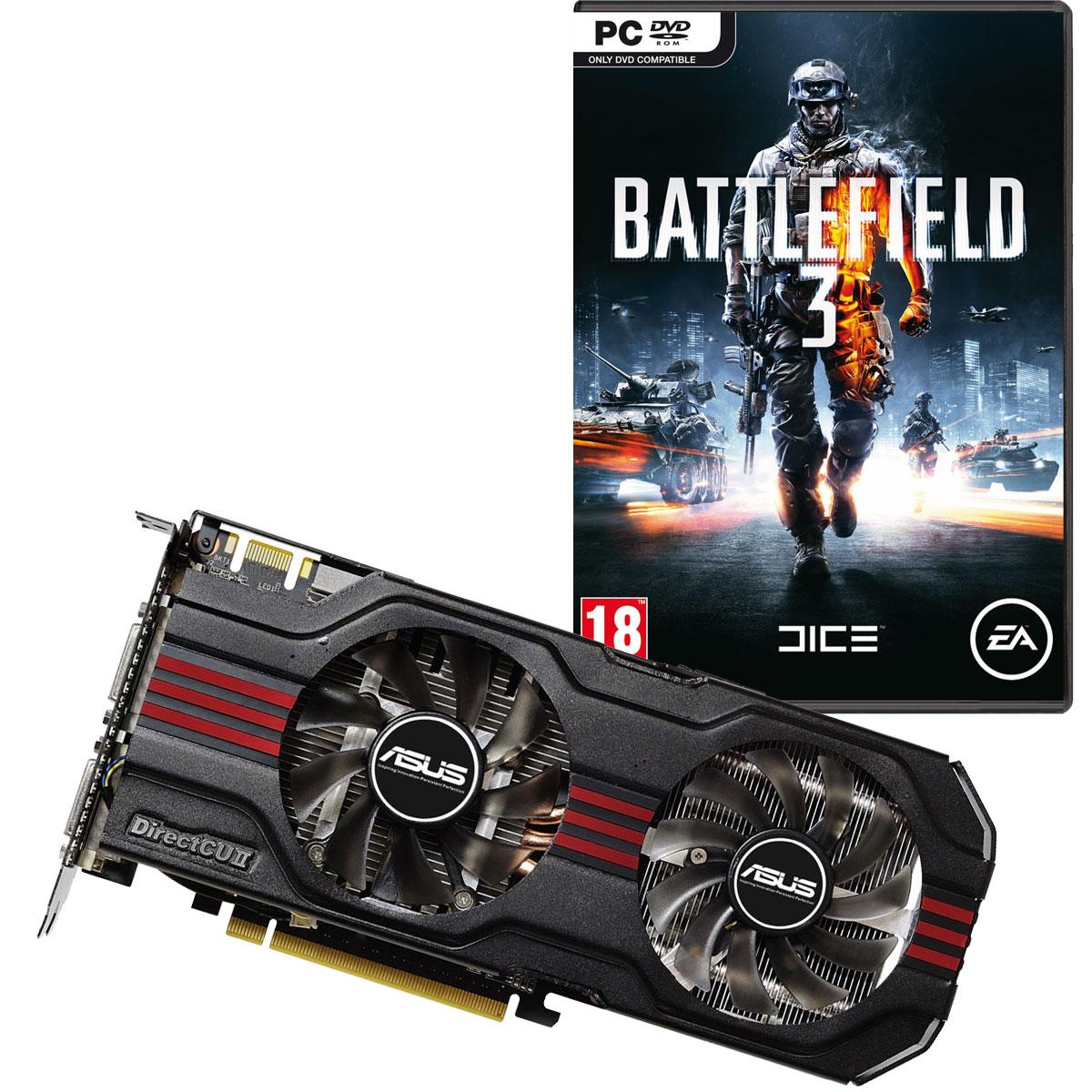 Carte graphique ASUS ENGTX560 Ti DirectCU II TOP 1024MB + Battlefield 3 1024 Mo Dual DVI/Mini HDMI - PCI Express (NVIDIA GeForce avec CUDA GTX 560 Ti)