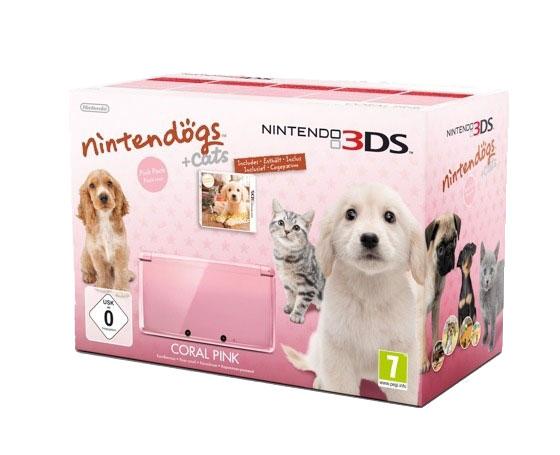 Console de jeux Nintendo 3DS Rose Corail + Nintendogs + cats : Golden retriever & ses nouveaux amis Nintendo 3DS Rose Corail + Nintendogs + cats : Golden retriever & ses nouveaux amis
