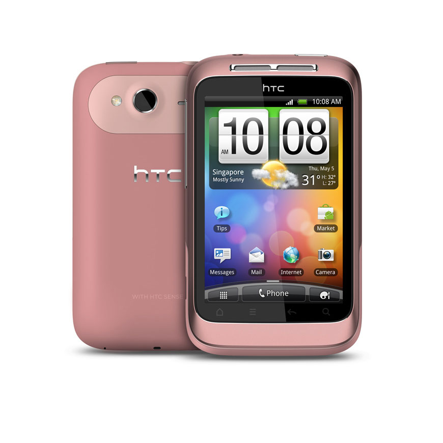 "Mobile & smartphone HTC Wildfire S Rose Smartphone 3G+ avec écran tactile 3.2"" sous Android 2.3"