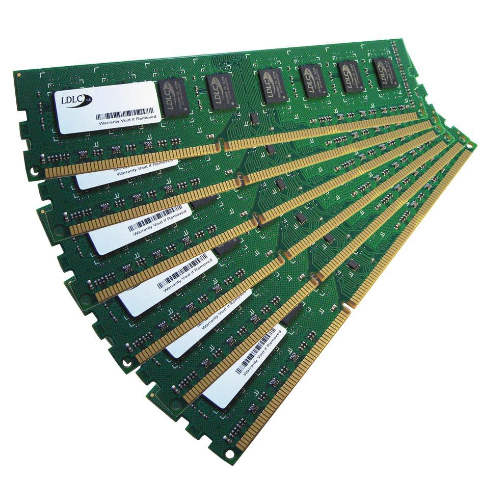 Mémoire PC LDLC 24 Go (6x 4 Go) DDR3 1600 MHz CL11 Kit Triple-Channel RAM DDR3 PC12800 1.35V/1.5V