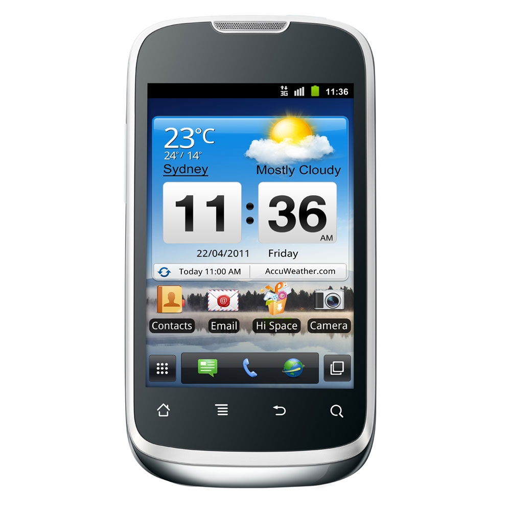 "Mobile & smartphone Huawei Sonic U8650 Blanc Smartphone 3G+ avec écran tactile 3.5"" sous Android 2.3"
