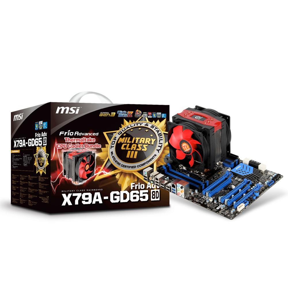 Carte mère MSI X79A-GD65 (8D) + Frio Adv Carte mère ATX Socket 2011 Intel X79 Express - SATA 6Gb/s - USB 3.0 - 3x PCI Express 3.0 16x + 2x PCI Express 2.0 16x