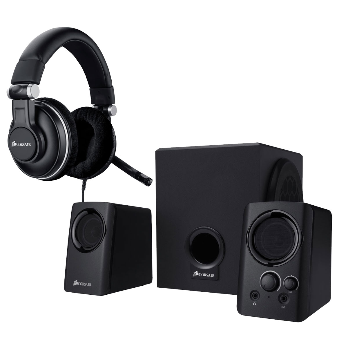 Micro-casque Corsair HS1A Gaming Headset + Corsair SP2200 Casque micro pour joueur + Enceintes 2.1
