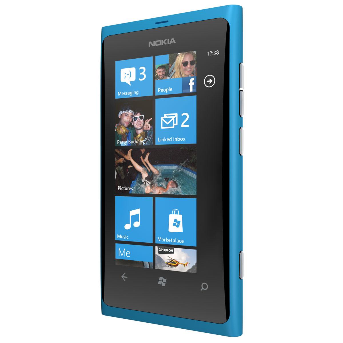 "Mobile & smartphone Nokia Lumia 800 Cyan Smartphone 3G+ avec écran tactile intégral 3.7"" sous Windows Phone 7.5"