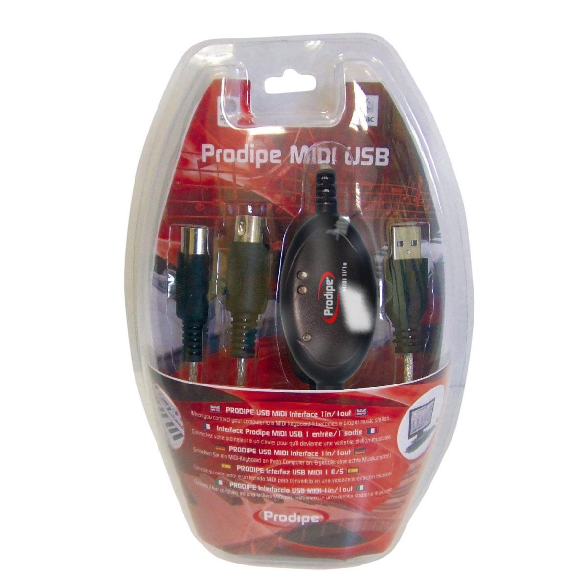 Interface Audio Prodipe MIDI USB 1i1o Interface MIDI USB 1 entrée 1 sortie