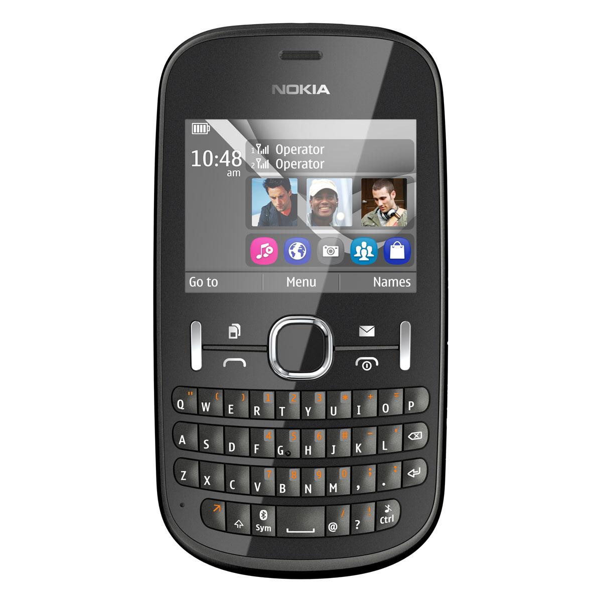 """Mobile & smartphone Nokia Asha 200 Graphite Smartphone 2G à double carte SIM avec écran 2.4"""" et clavier complet"""