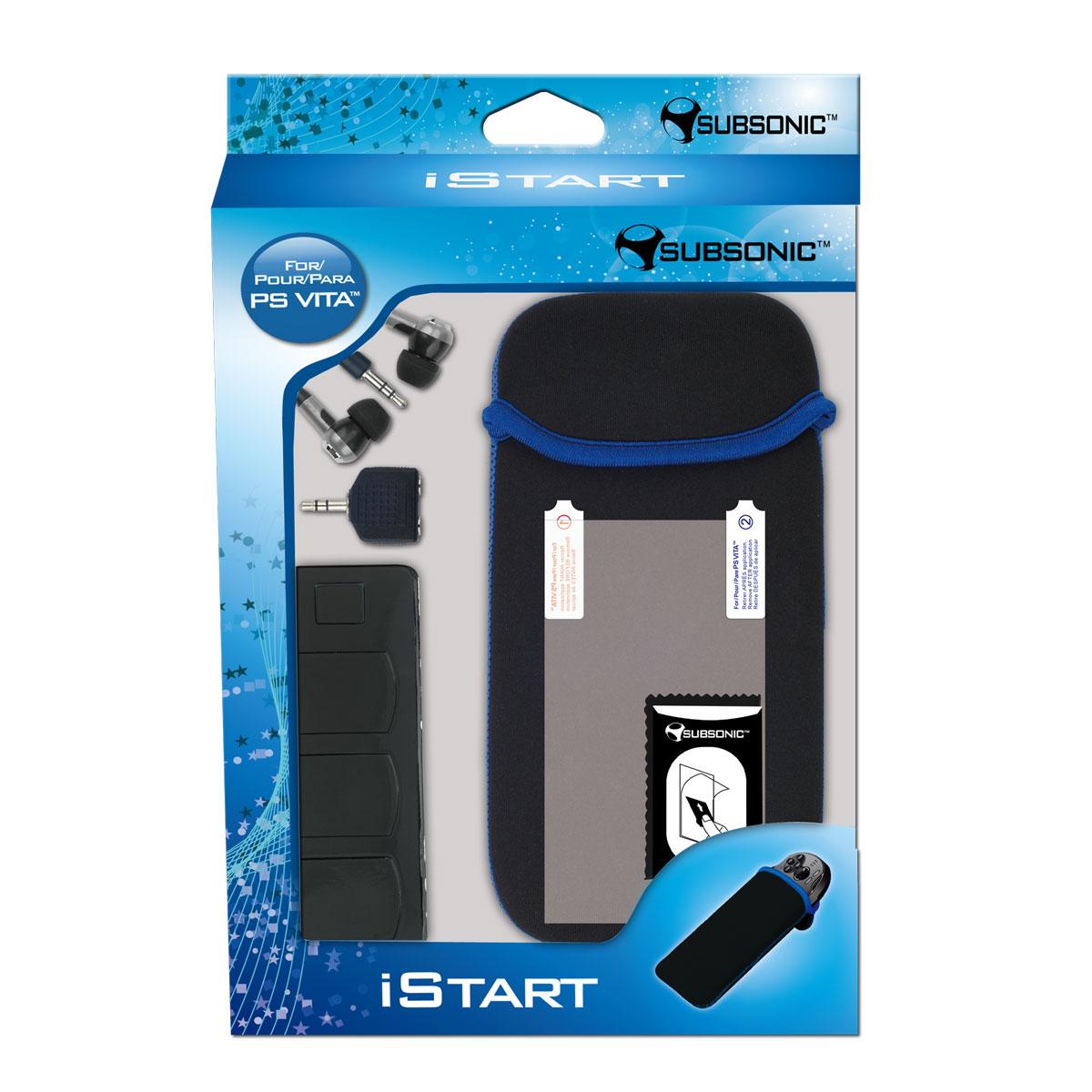 Accessoires PS Vita SubSonic iStart (PS Vita) Sacoche + Film protecteur + boitier de transport + écouteurs + répartiteur audio pour PS Vita
