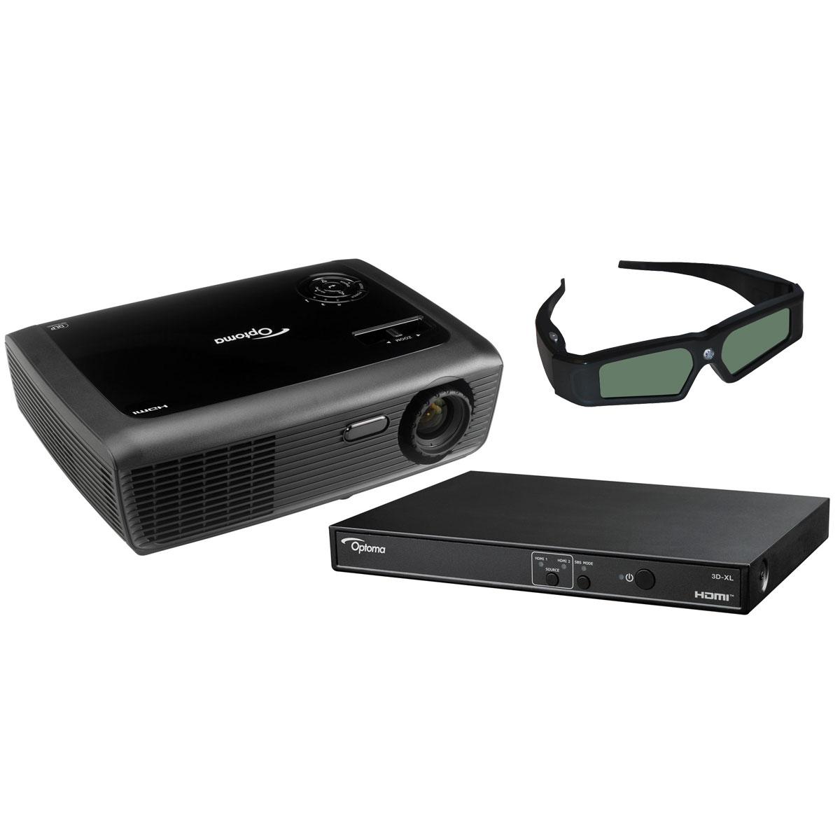 Vidéoprojecteur Optoma DH7-XL Vidéoprojecteur DLP WXGA 3D Ready 2500 Lumens + Boîtier adaptateur 3D + Lunettes 3D