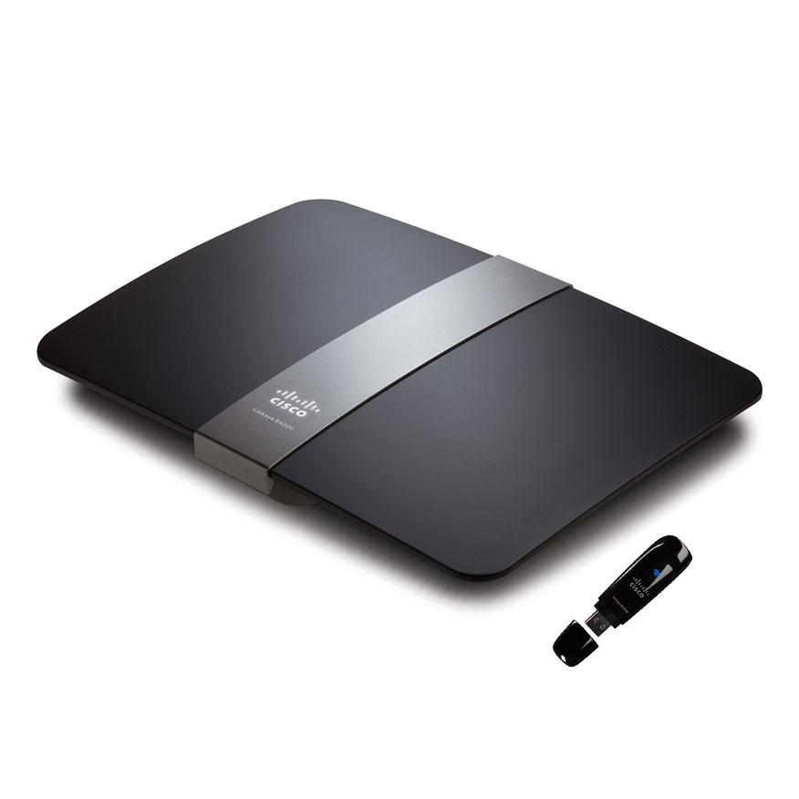 Modem & routeur Linksys E4200 + Linksys AE1000 Routeur sans fil Wi-Fi N 450 Mbps Dual Band simultanées + Clé USB WiFi N 300 Mbps Dual-Band