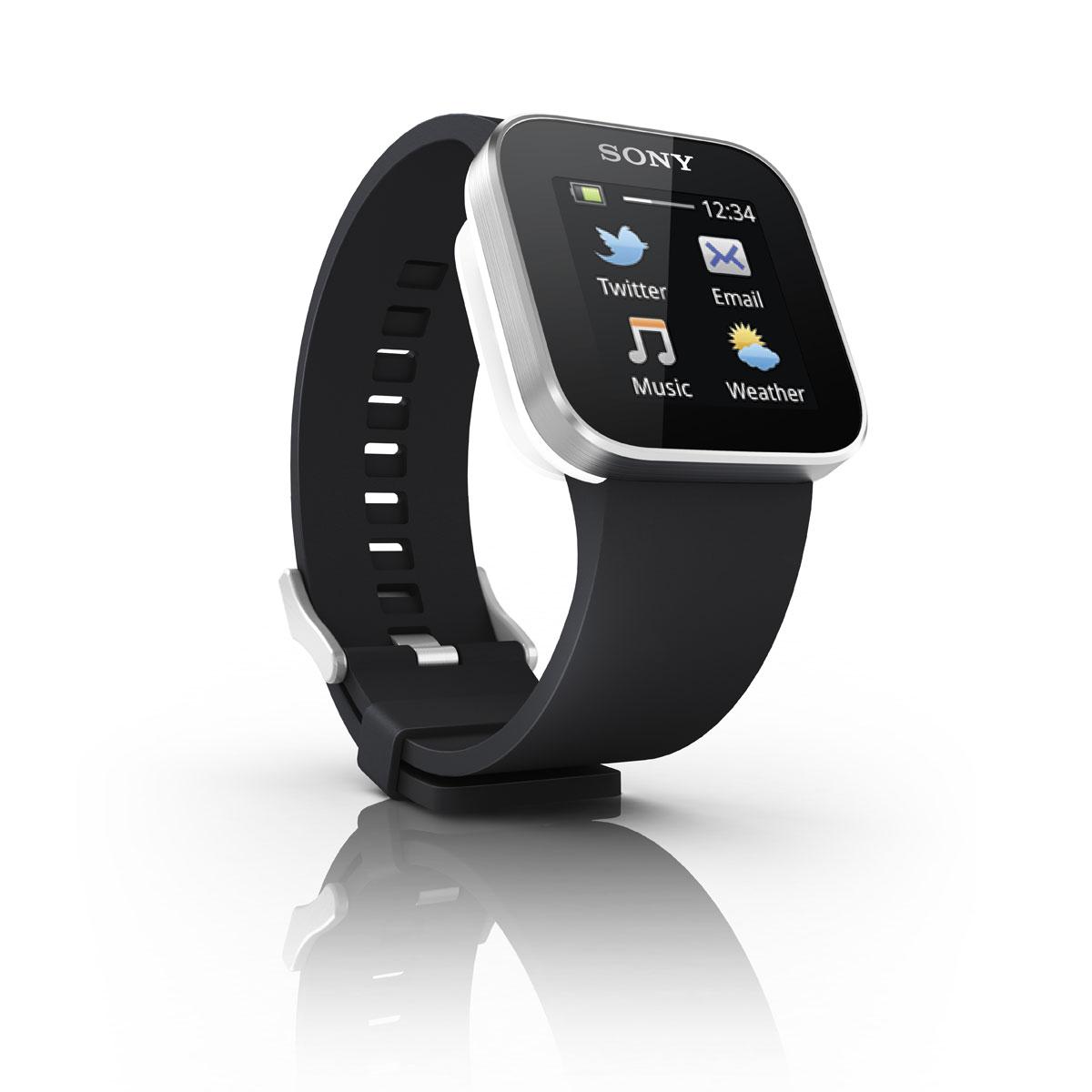 Montre & Bracelets connectés Sony SmartWatch Noire Montre Android Bluetooth avec écran OLED tactile Multipoint