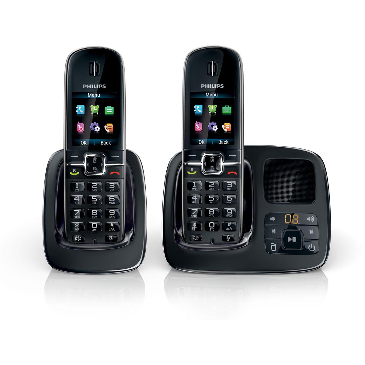 philips cd4962 duo noir t l phone sans fil philips sur ldlc. Black Bedroom Furniture Sets. Home Design Ideas