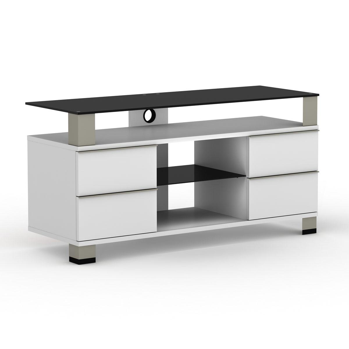 Elmob pone pn 120 02 blanc meuble tv elmob sur ldlc - Meuble pour ecran plat ...