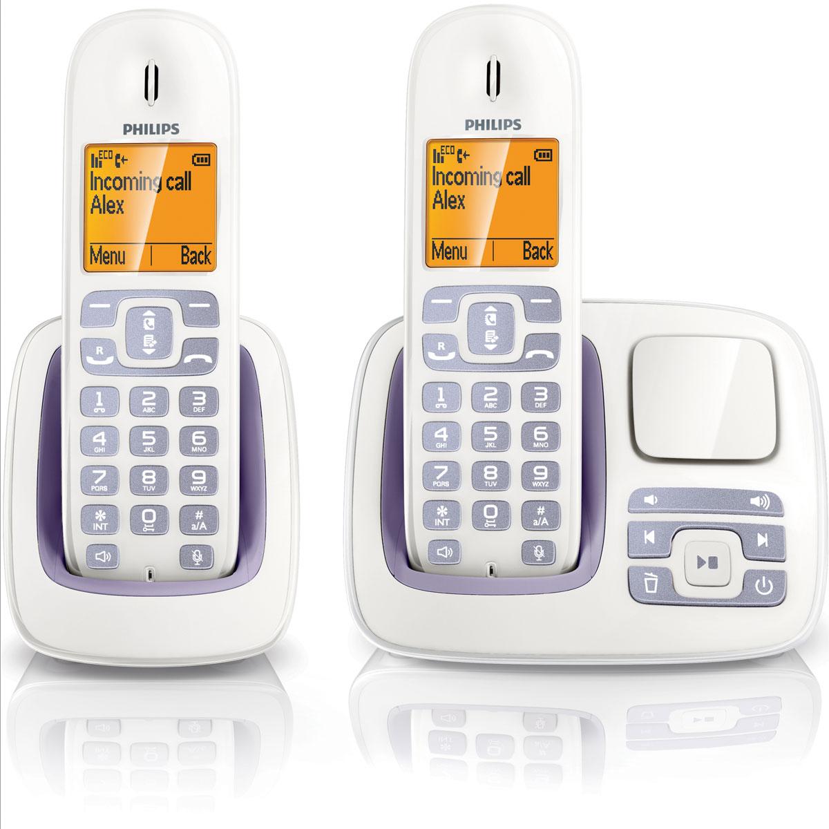 philips cd2952 duo blanc lila t l phone sans fil philips sur ldlc. Black Bedroom Furniture Sets. Home Design Ideas