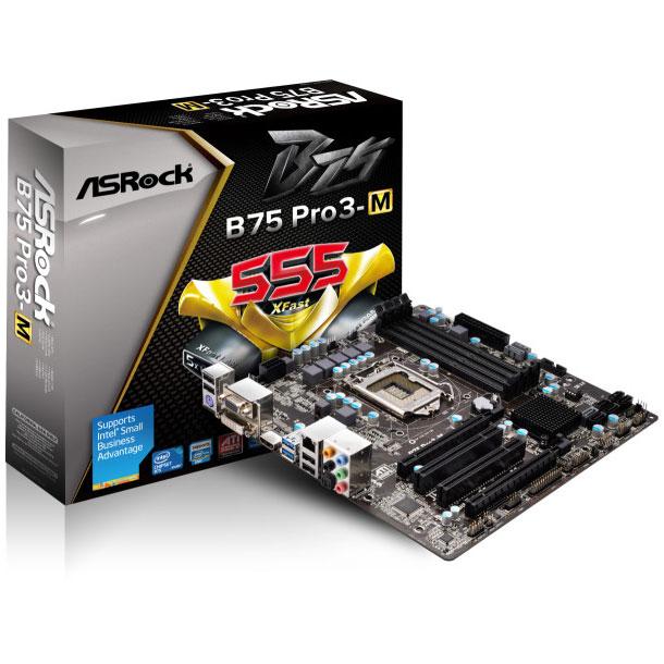 Carte mère ASRock B75 Pro3-M Carte mère Micro ATX Socket 1155 Intel B75 Express - SATA 3Gb/s - USB 3.0 - 1x PCI-Express 3.0 16x + 1x PCI-Express 2.0 16x