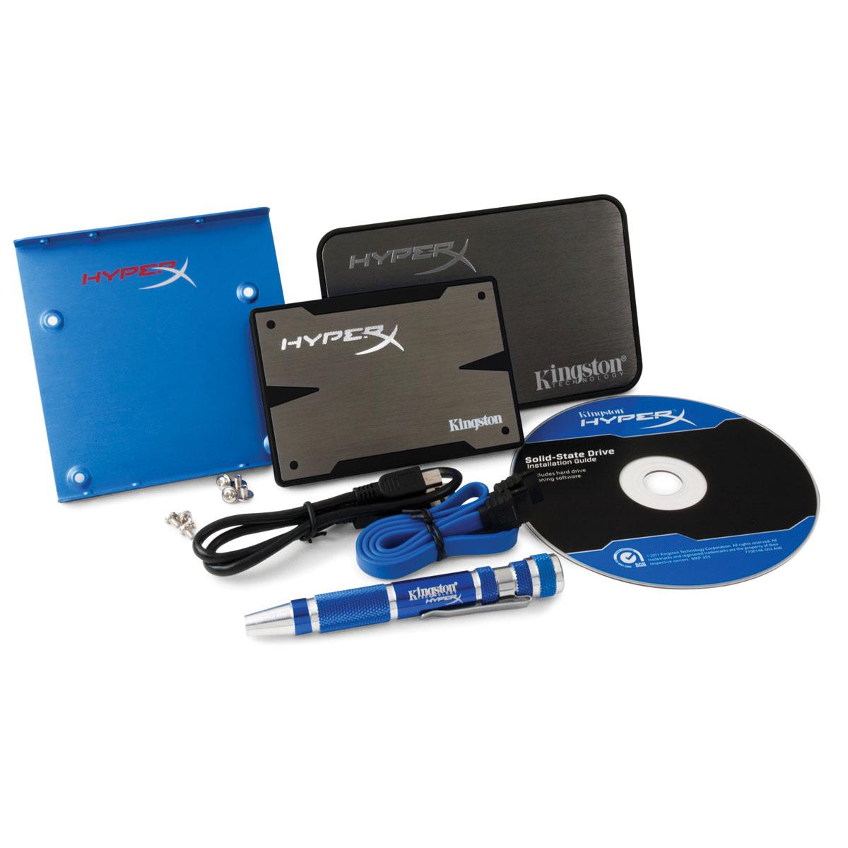"""Disque SSD Kingston HyperX 3K SSD Series 120 Go Kit Upgrade SSD 120 Go 2.5"""" Serial ATA 6Gb/s avec Kit pour PC de bureau et PC portable"""