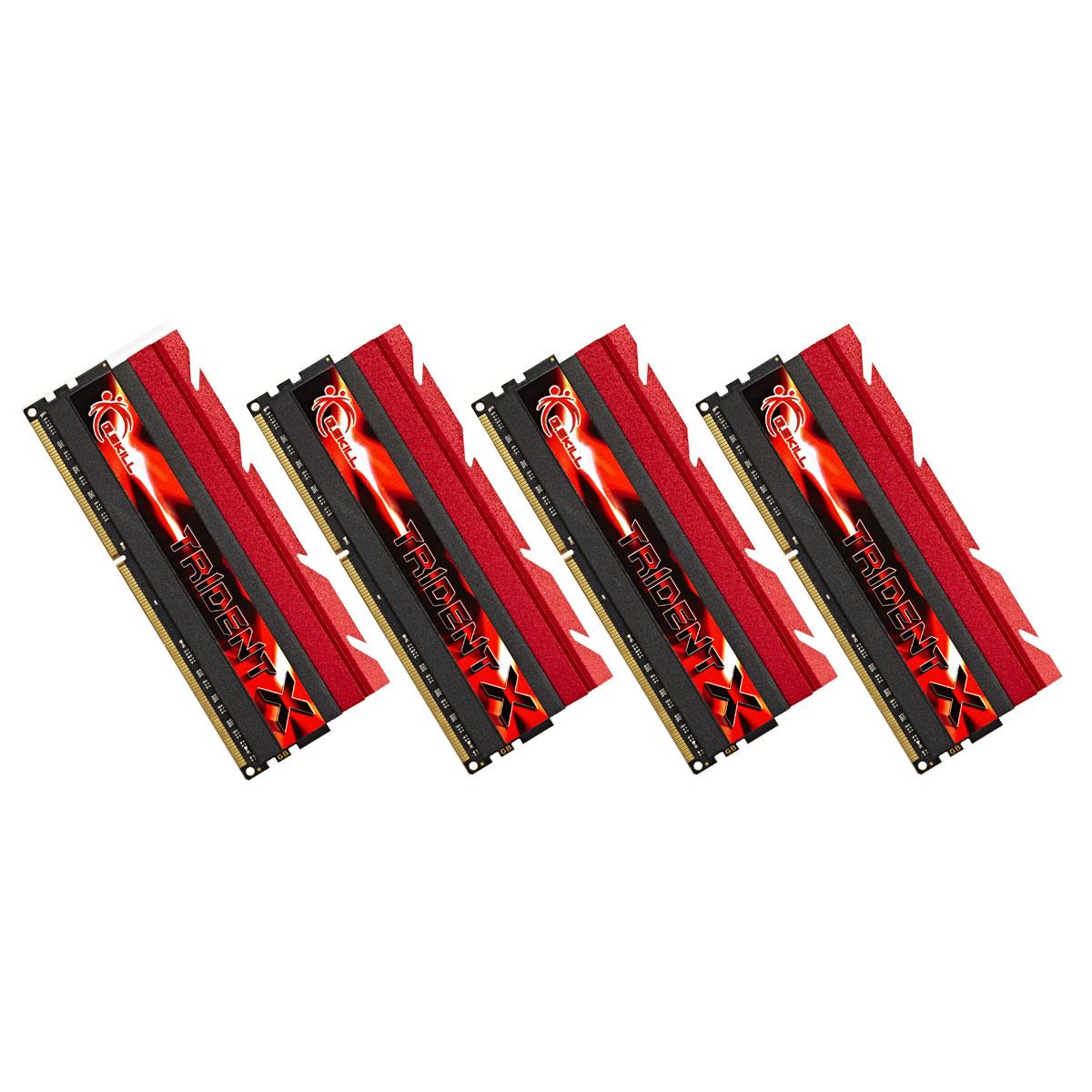 Mémoire PC G.Skill Trident X Series 16 Go (4x 4Go) DDR3 2400 MHz CL10 Kit Quad Channel DDR3 PC3-19200 - F3-2400C10Q-16GTX (garantie à vie par G.Skill)