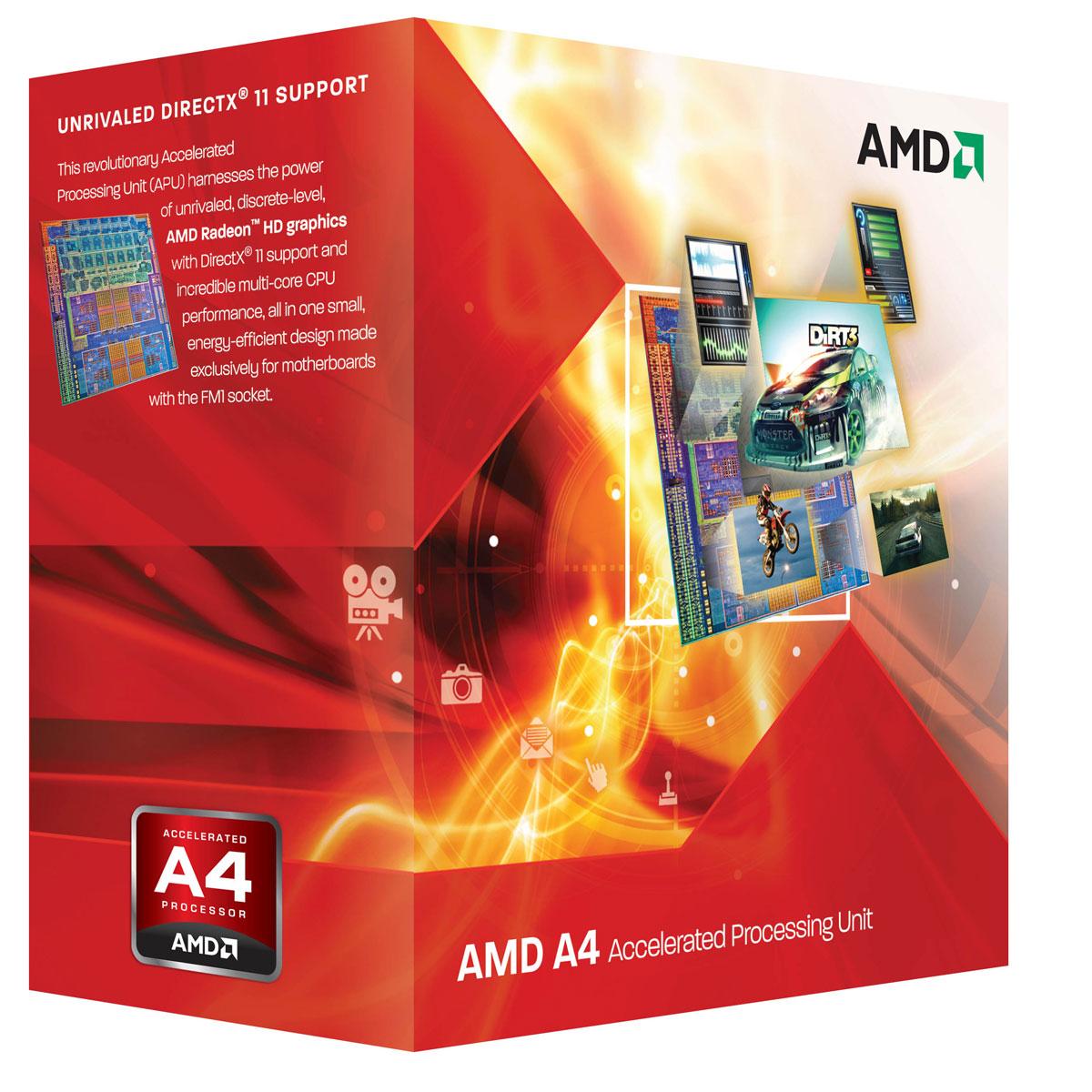 Processeur AMD A4-3400 (2.7 GHz) Processeur Dual Core socket FM1 Cache L2 1 Mo Radeon HD 6410D 0.032 micron (version boîte - garantie constructeur 3 ans)