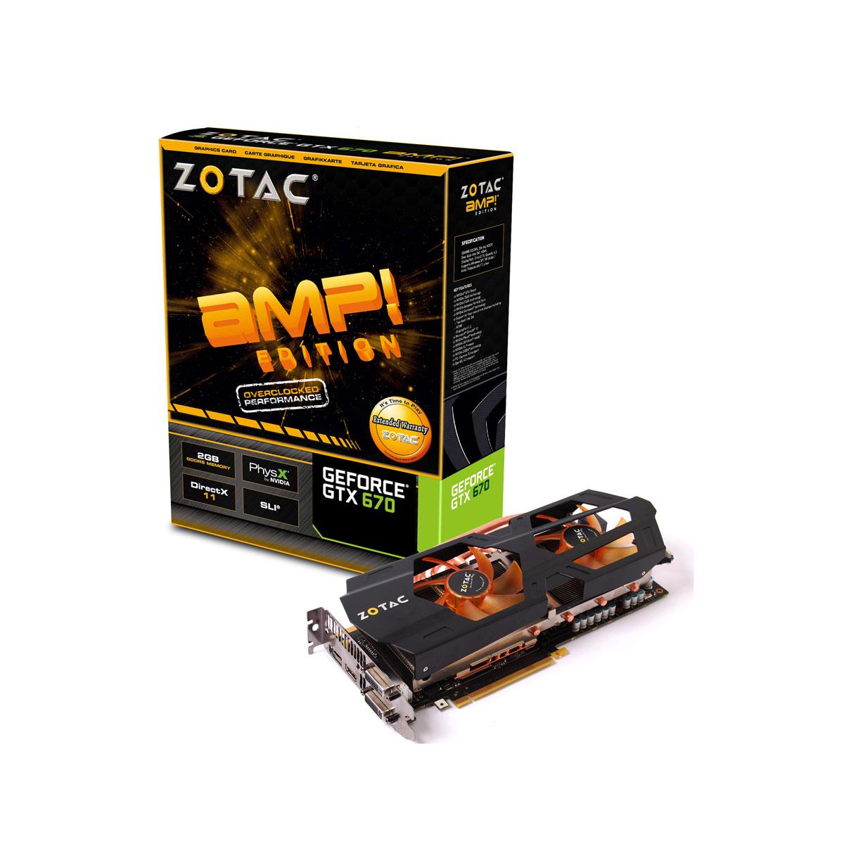 Carte graphique ZOTAC GeForce GTX 670 2GB AMP! Edition 2048 Mo Dual DVI/HDMI/DisplayPort - PCI Express (NVIDIA GeForce avec CUDA GTX 670)