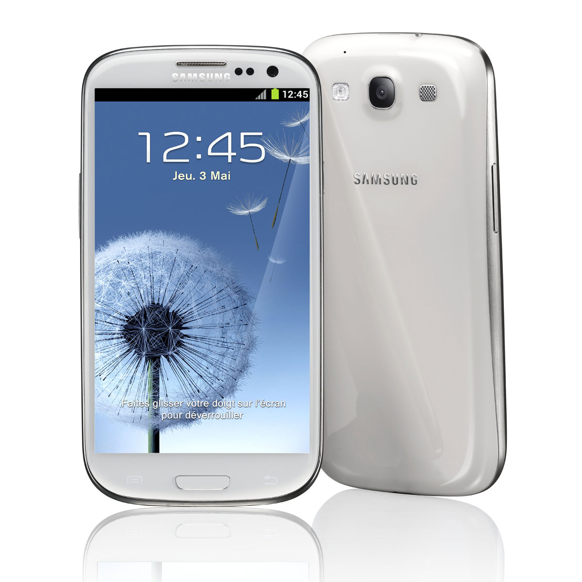 """Mobile & smartphone Samsung Galaxy SIII GT-i9300 Marble White 16 Go Smartphone 3G+ avec écran tactile HD Super AMOLED 4.8"""" sous Android 4.0"""