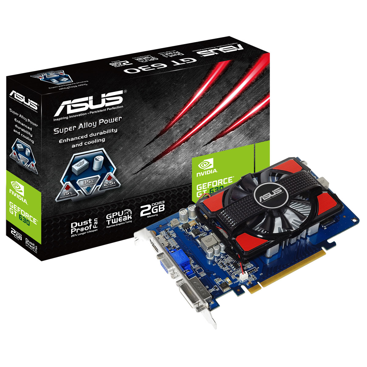 Carte graphique Asus GT630-2GD3 2 GB 2 Go HDMI/DVI - PCI Express (NVIDIA GeForce avec CUDA GT 630)