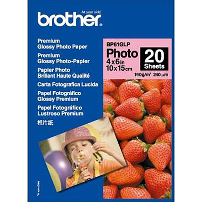 Papier imprimante Brother BP61GLP Papier photo brillant de haute qualité - 190g/m² (10 x 15 cm, 20 feuilles)