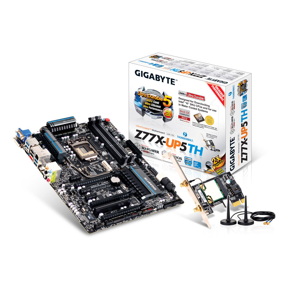 Carte mère Gigabyte GA-Z77X-UP5 TH Carte mère ATX Socket 1155 Intel Z77 Express - SATA 6Gb/s + mSATA - USB 3.0 - Thunderbolt - 3x PCI-Express 3.0 16x