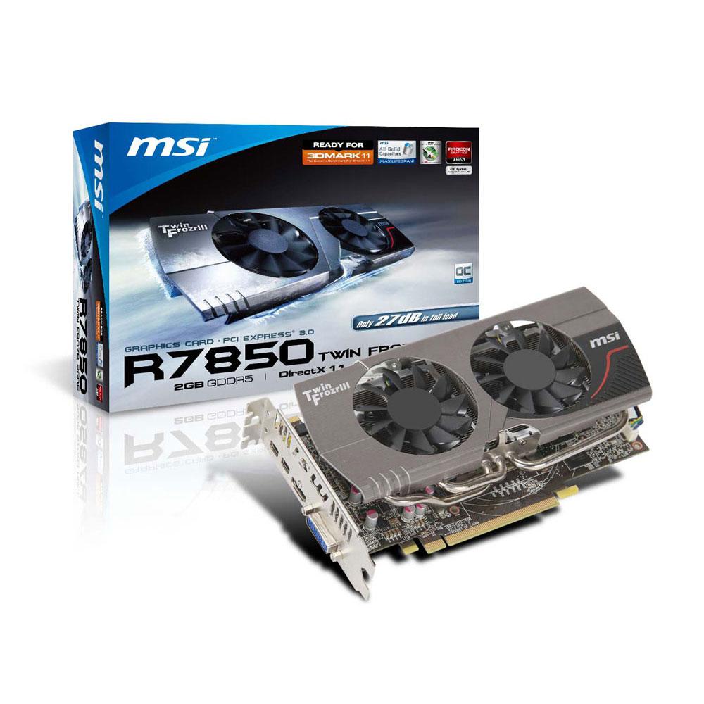 Carte graphique MSI R7850 Twin Frozr 2GD5/OC 2 GB 2 Go HDMI/DVI/Dual Mini-DisplayPort - PCI Express (AMD Radeon HD 7850)