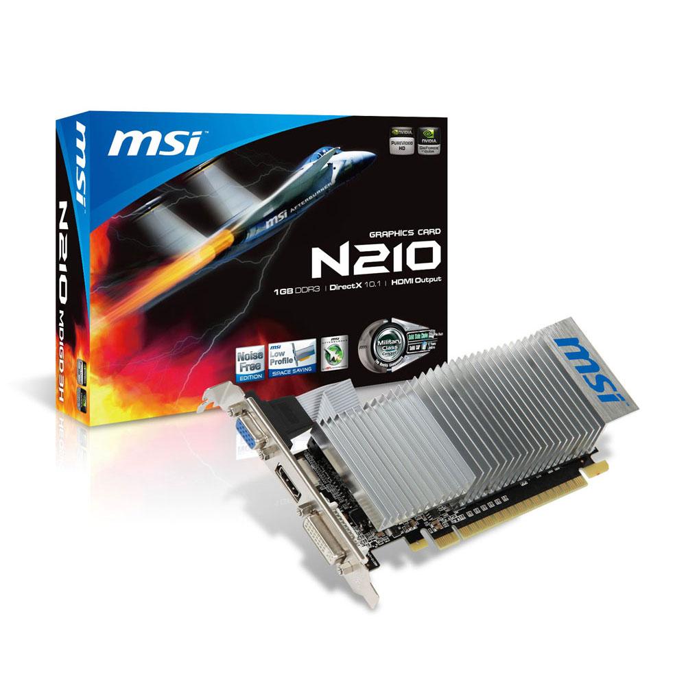 Carte graphique MSI GeForce 210 N210-MD1GD3H/LP 1 Go 1024 Mo HDMI/DVI - PCI Express (NVIDIA GeForce avec CUDA 210)