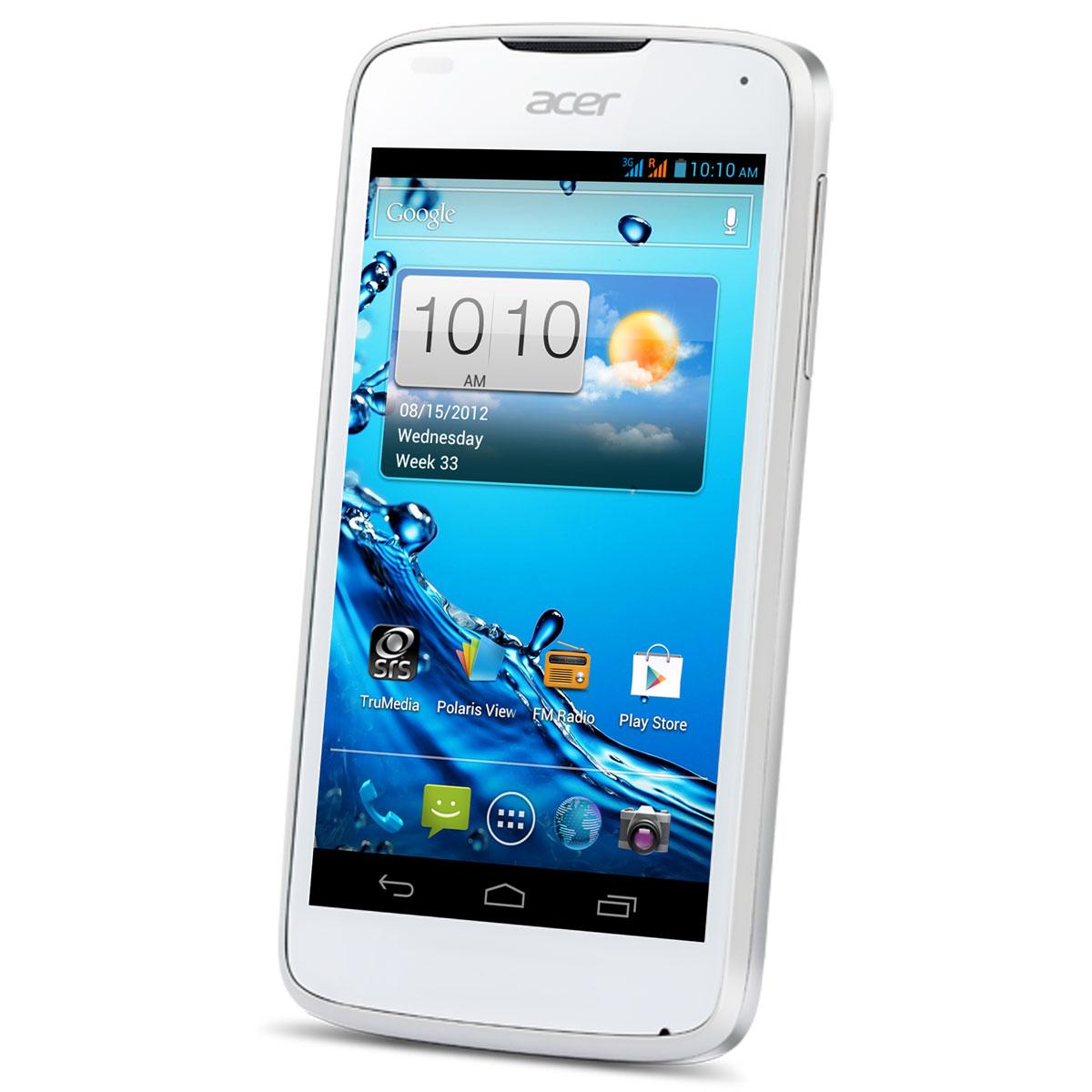 """Mobile & smartphone Acer Liquid Gallant Duo E350 Pure White Smartphone 3G+ Dual Sim avec écran tactile 4.3"""" sous Android 4.0"""