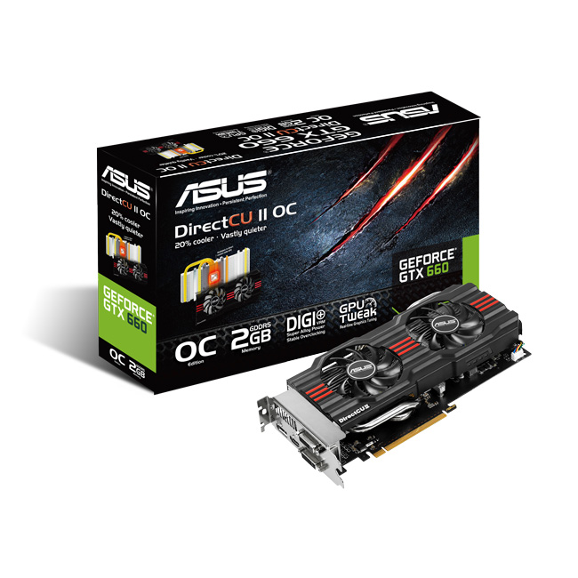 Carte graphique ASUS GeForce GTX660-DC2O-2GD5 2048 Mo Dual DVI/HDMI/DisplayPort - PCI Express (NVIDIA GeForce avec CUDA GTX 660)