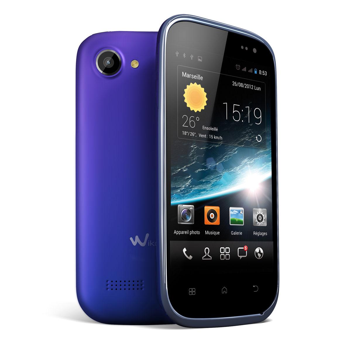 """Mobile & smartphone Wiko Cink Slim Velvet Blue Smartphone 3G+ Dual Sim avec écran tactile 4"""" sous Android 4.0 (Garantie constructeur 2 ans)"""