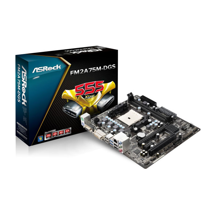Carte mère ASRock FM2A75M-DGS Carte mère Micro-ATX Socket FM2 AMD A75 (Hudson D3) - SATA 3Gb/s - USB 3.0 - 1x PCI Express 2.0 16x