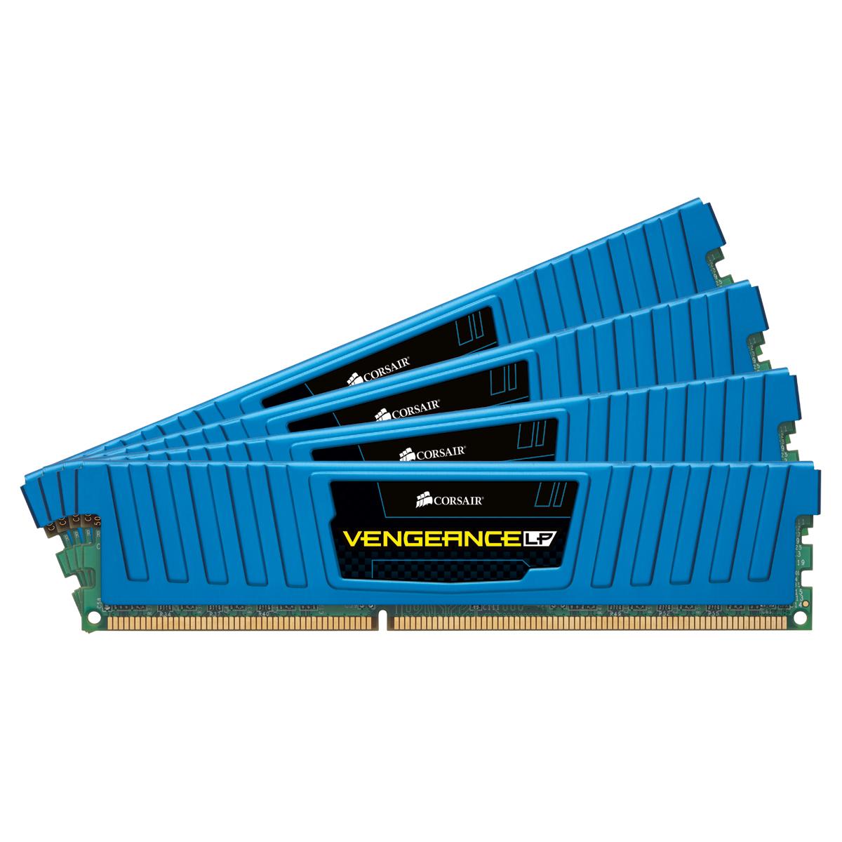 Mémoire PC Corsair Vengeance Low Profile Series 32 Go (4x 8 Go) DDR3 1600 MHz CL10 Bleu Kit Quad Channel RAM DDR3 PC12800 - CML32GX3M4A1600C10B (garantie 10 ans par Corsair)