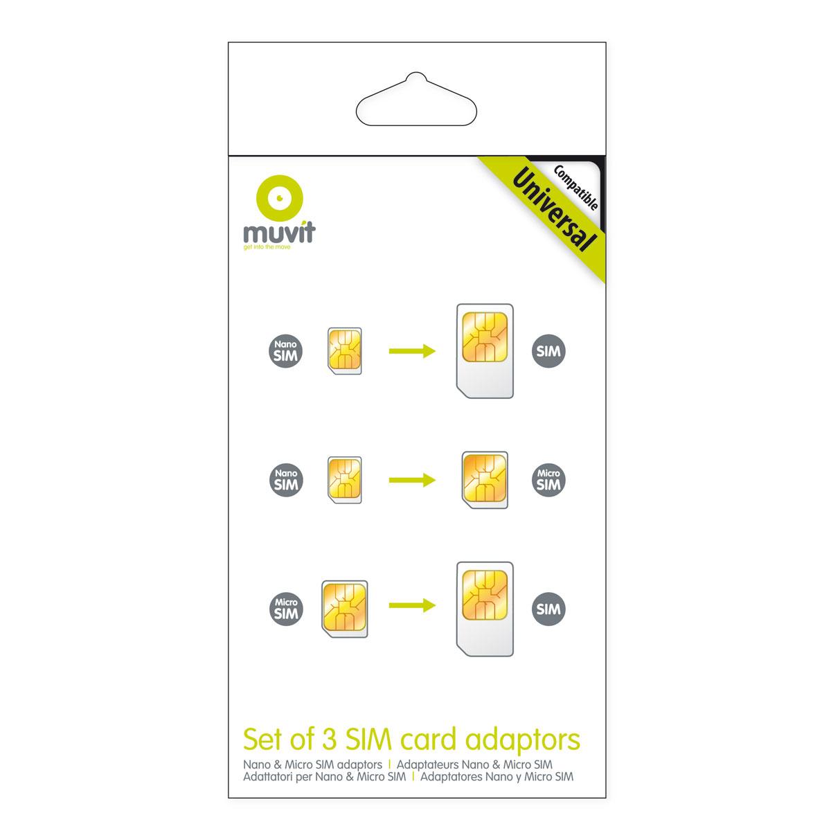 muvit pack de 3 adaptateurs de carte sim mumicsimad002 achat vente c ble adaptateur. Black Bedroom Furniture Sets. Home Design Ideas