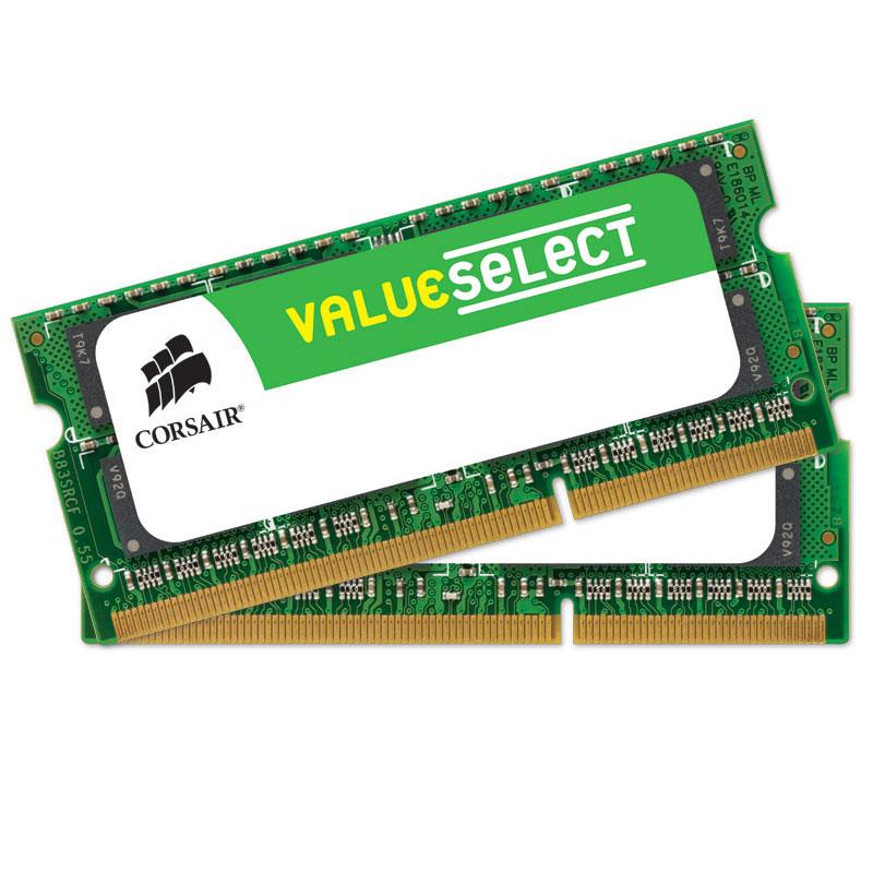 Mémoire PC portable Corsair Value Select SO-DIMM 16 Go (2 x 8 Go) DDR3 1600 MHz CL11 Kit Dual Channel RAM SO-DIMM DDR3 PC12800 - CMSO16GX3M2A1600C11 (garantie à vie par Corsair)