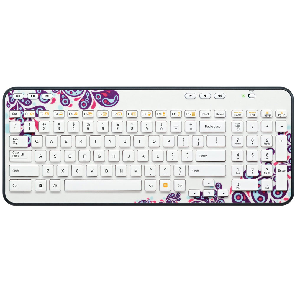 logitech wireless keyboard k360 white paisley clavier pc logitech sur ldlc. Black Bedroom Furniture Sets. Home Design Ideas