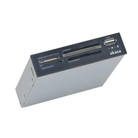 """Lecteur carte mémoire Akasa AK-ICR-03USBV2 Lecteur de cartes mémoire interne + port USB 2.0 pour baie 3"""" 1/2"""