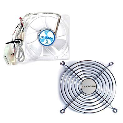 Ventilateur boîtier Antec TriCool 80 + Grille de ventilateur 120mm Ventilateur de boitier 80 mm à 3 vitesses + Grille de ventilateur 120mm