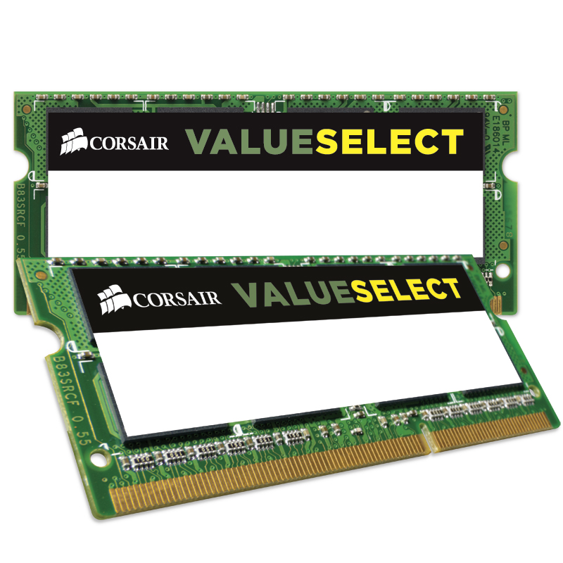 Mémoire PC portable Corsair Value Select SO-DIMM 8 Go (2 x 4 Go) DDR3 1600 MHz CL11 Kit Dual Channel RAM SO-DIMM DDR3 PC12800 - CMSO8GX3M2A1600C11 (garantie à vie par Corsair)