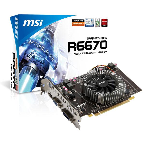 Carte graphique MSI R6670-MD1GD3 V2 1 GB 1 Go HDMI/DVI - PCI Express (AMD Radeon HD 6670)