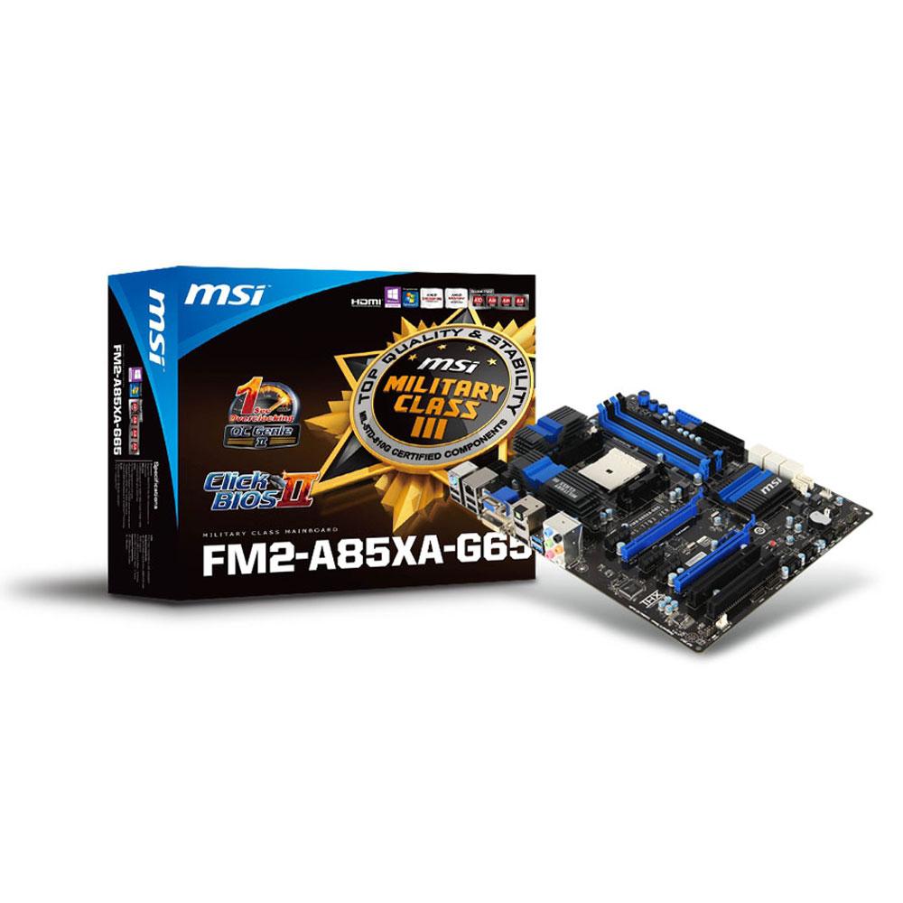 Carte mère MSI FM2-A85XA-G65 Carte mère ATX Socket FM2 AMD A85X (Hudson D4) - SATA 6Gb/s - USB 3.0 - 2x PCI Express 2.0 16x