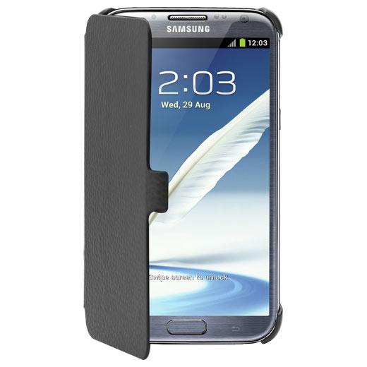 Etui téléphone Anymode Made For Samsung Etui en cuir à rabat Noir Samsung Galaxy Note II N7100 Etui en cuir à rabat pour Samsung Galaxy Note II N7100