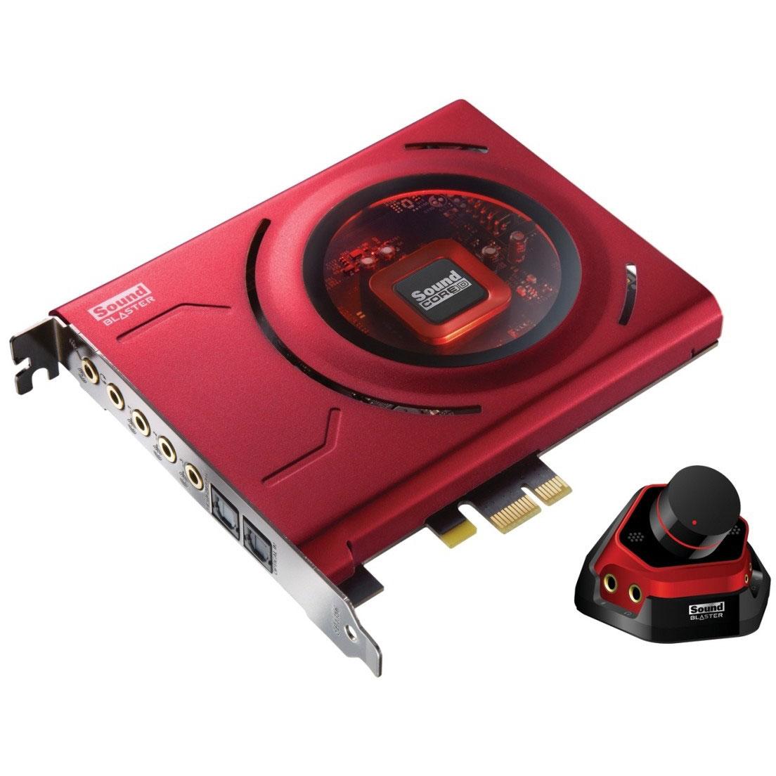 Carte son interne Creative Sound Blaster Zx Carte son surround 5.1 avec entrée et sortie optiques et module de contrôle pour gamer (PCIe)
