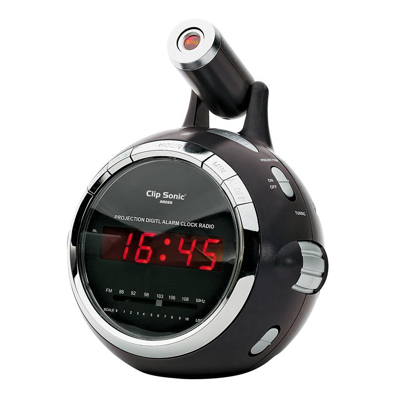 Clipsonic ar269n noir ar269n achat vente radio - Reveil avec projection de l heure au plafond ...