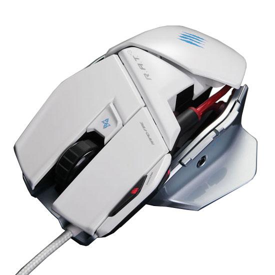 Souris PC Mad Catz R.A.T. 3 (RAT 3) White Souris filaire pour gamer - droitier - capteur laser 3500 dpi - 5 boutons programmables