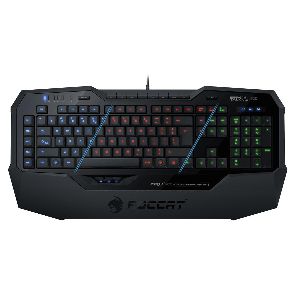 Clavier PC ROCCAT Isku FX (noir) Clavier pour gamer avec système de rétro-éclairage personnalisable (AZERTY, Français)