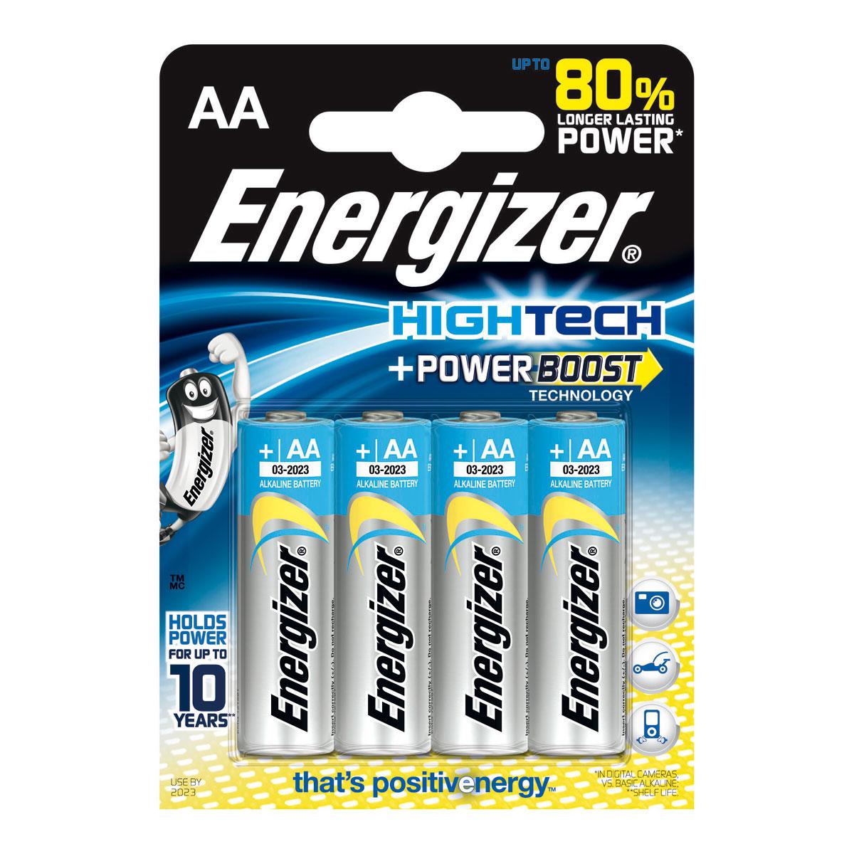 Pile & accu Energizer HighTech PowerBoost AA (par 4) Pack de 4 piles alcalines AA (LR6) à hautes performances
