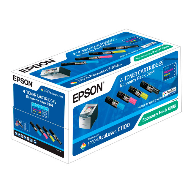 Toner imprimante Epson C13S050268 Epson pack de 4 toners: C13S050190 (Noir) + C13S050191 (Jaune) + C13S050192 (Magenta) + C13S050193 (Cyan)